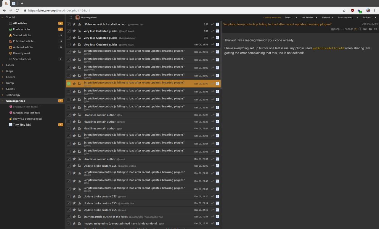 Tiny Tiny RSS 截屏